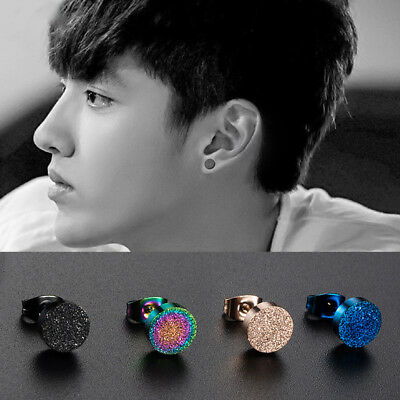 Fashion Men Women Titanium Stainless Steel Ear Stud Earring Frosted Screw Back