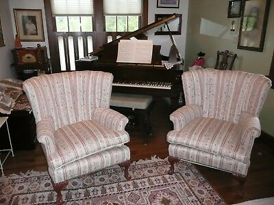 Pair Wingback Curved Channel Chairs Vintage Antique Ball and Claw carved legs
