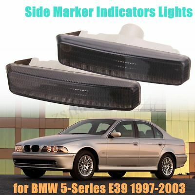 Pair Black Side Marker Light Signal Lamp For BMW E39 5-Series E39 1997-2003