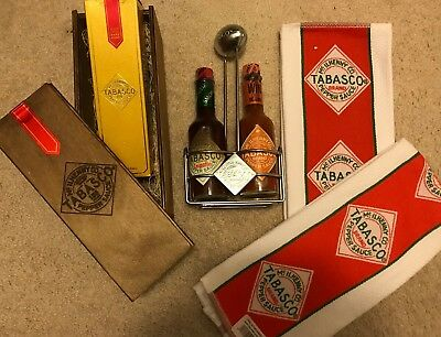 McIlhenny Tabasco DIAMOND RESERVE SAUCE WOOD BOX Football Caddy Chipotle Towels