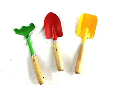 Lot of 3 Child Size Garden Tools Shovel Rake Spade Metal Wood