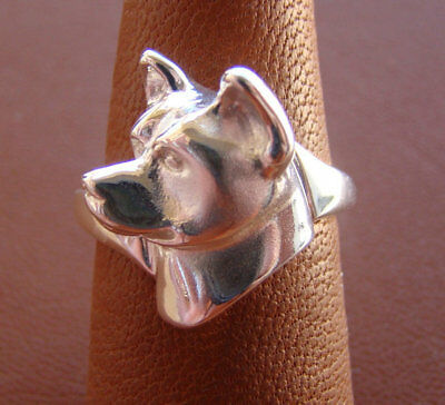Small Sterling Silver Akita Head Study Ring