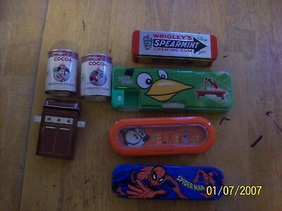 lot of 7 tins and pencil cases
