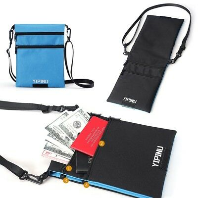 Travel Neck Pouch Passport Cards Holder 2 Side Adjustable Lanyard Hidden Wallet