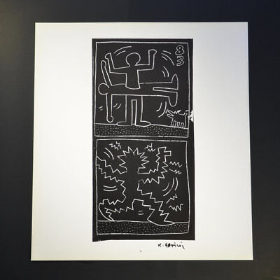 "Keith Haring, ""No title"" (Two black and white images, one of two people divided)"