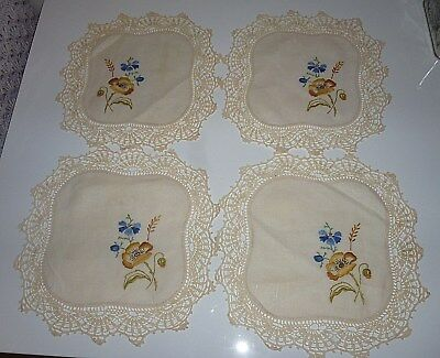 VINTAGE- 4 pce DOILY SET- HAND EMBROIDERED-PRETTY FLOWERS
