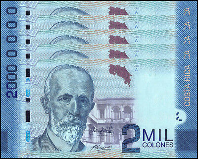 Costa Rica 2,000 (2000) Colones X 5 Pieces (PCS), 2013, P-275, UNC, Series-A