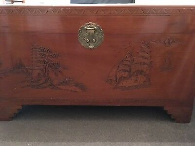 Antique Carved Chinese Teak & Camphor Chest