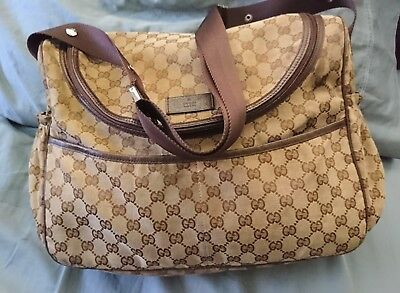 Authentic Designer Gucci Baby Diaper Bag Gg Brown W Changing Pad