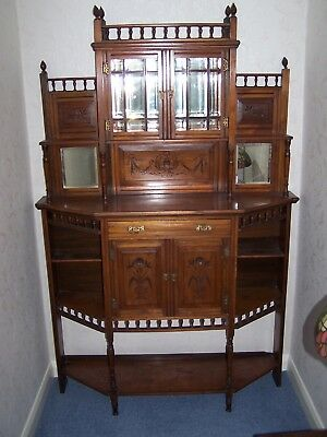 Antique Edwardian Ornate Mirror Backed Display Cabinet Sideboard