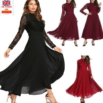 Women Ladies Chiffon Formal Evening Party Ball Gown Prom Lace Long Sleeve Dress