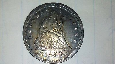 1853 Seated Liberty Quarter Arrows And Rays Au