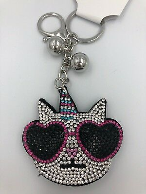 Funky Pussy CAT with Guitar Diamante Keyring Rhinestone bag Charm Bling *NEW*
