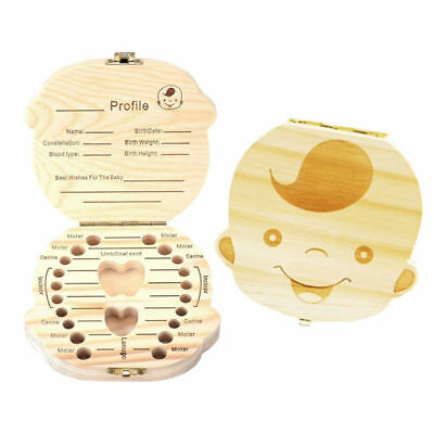 Wood Kid Baby Tooth Storage Container Box Case Keepsake Collect Of Baby Growth