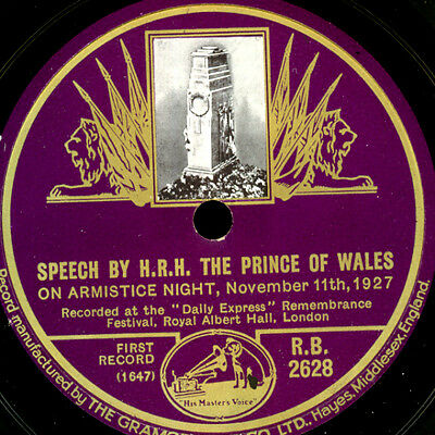 SPEECH BY H.R.H. THE PRINCE OF WALES On Armistice Night -WK I-  1927 78rpm S9551