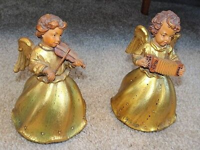 2 Vintage Anri Reuge Gold Angel Music Box Musicians Violin Squeeze Box