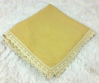 VINTAGE Embroidered Lace Edge Wheat Yellow Gold Bed Table Cover Textile