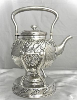 A Whiting Aesthetic Japanese-Style Sterling Silver Teapot On Stnad, Circa 1881