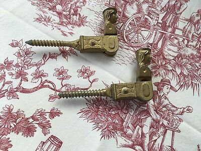 Pair Vintage French Cast Iron Shutter Dogs / Hold Backs
