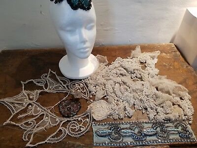 Intresting group of original vintage 1920s beaded and rhinestone dress remains