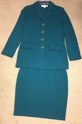 st.john collection by marie gray 2 pc skirt/blazer Teal size 6 See Description