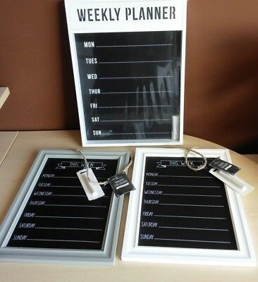 Black Chalk Board Shabby Chic White, Grey Wooden Frame Memo Weekly Menu Planner
