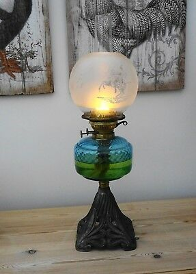 Antique Victorian Cast Iron Base Twin Duplex Oil Lamp with etched Shade