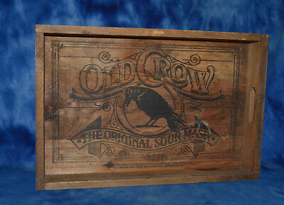 Vintage Old Crow Sour Mash Bar Wood Tray Ad Sign Decor Sign Rare Nice