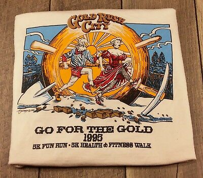 Vintage 1995 Gold Rush City Go For the Gold 5k Run Walk T-Shirt Tee Polar Water
