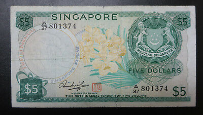 Singapore $5 orchid flower series five dollars 1967, Hon Sui Sen signature, note