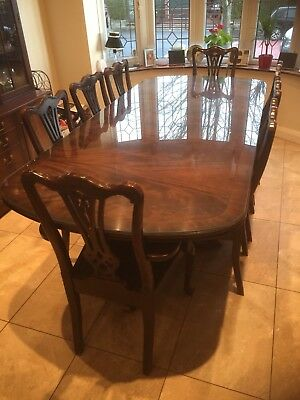 Vintage Large Edwardian Style Mahogany Dining Table & 8 Chairs & Glass Protector