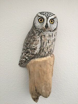 WOOD Carved Life Size Western Screech OWL on Log Wall Hang Lisa Rogers Carving