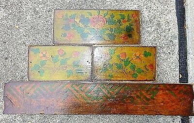 TIBETAN Cabinet Panels 4 Painted Sections Early 1900s