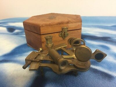Vintage Antique Brass Ships Sextant With Mahogany Wooden Box Anchor Symbol
