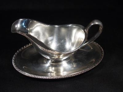 Vintage Silver Plate William Rodgers Gravy Boat Attached Under Plate