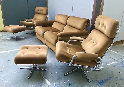 Vintage 1970s Suite Of Furniture, Sofa, Armchairs