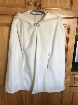 New ivory hooded cape Short length Satin lined