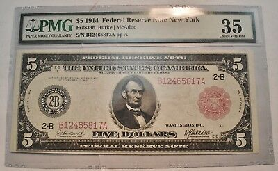 1914 $5 PMG VF 35 RED Seal Federal Reserve Bank Note New York Choice Very Fine
