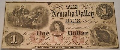 1857 $1 Nemaha Valley Bank Territory of Nebraska Obsolete Currency, Dollar Note