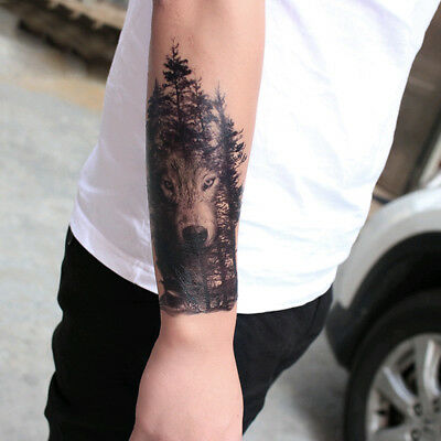 Men Fashion Cool Waterproof Temporary Fake Tattoo Sticker Large Gray Forest Wolf