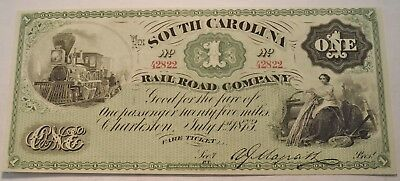 1873 $1 South Carolina Rail Road Company Obsolete Currency, Uncirculated Note