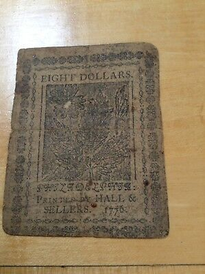 Early Continental Currency Eight Dollar Note, 1776