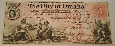 1857 $3 The City of Omaha Territory of Nebraska Obsolete Currency Note, Three