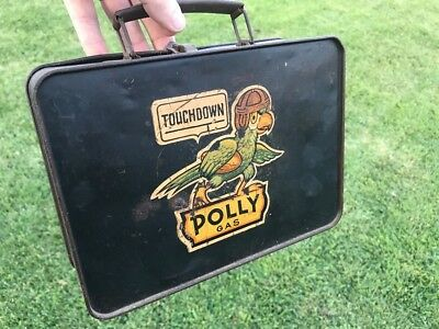 Antique Polly Gas with Original Football Graphic Automotive Lunch Box