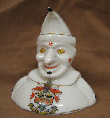 """Arcadian China Crested Unusual Bust of Clown with Large Nose, 3 1/4"""", Chatham"""
