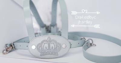 Embroidered Royal  crown Leather Baby Reins Traditional Reins Blue with straps