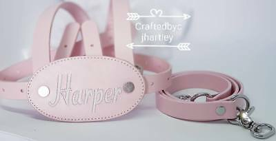 Personalized Embroidered Leather Baby Reins Traditional Reins  Pink with straps