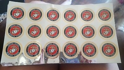 "USMC U.S. Marine Crome Decal Marine Corps Sticker Decal EGA sheet of 18 1"" decal"