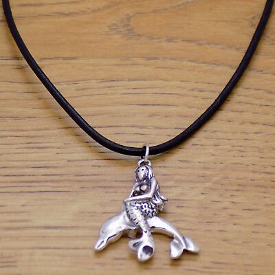 Beautiful Charming Mermaid Dolphin Pendant & Black Leather Adjustable Necklace
