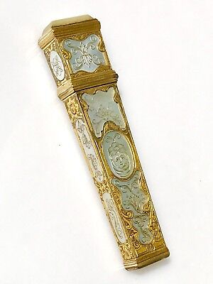 Antique 1700s 1800s GILT French MOTHER OF PEARL Sewing Needle Case BOX w Button